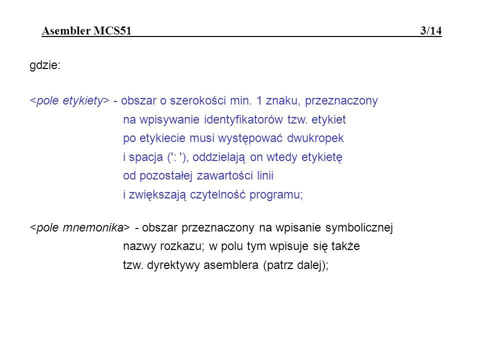 Asembler MCS51 - dyrektywy 14/14
