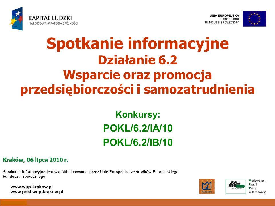 Spotkanie informacyjne Działanie 6.2 Wsparcie oraz promocja przedsiębiorczości i samozatrudnienia Konkursy: POKL/6.2/IA/10 POKL/6.2/IB/10 Kraków, 06 lipca 2010 r.