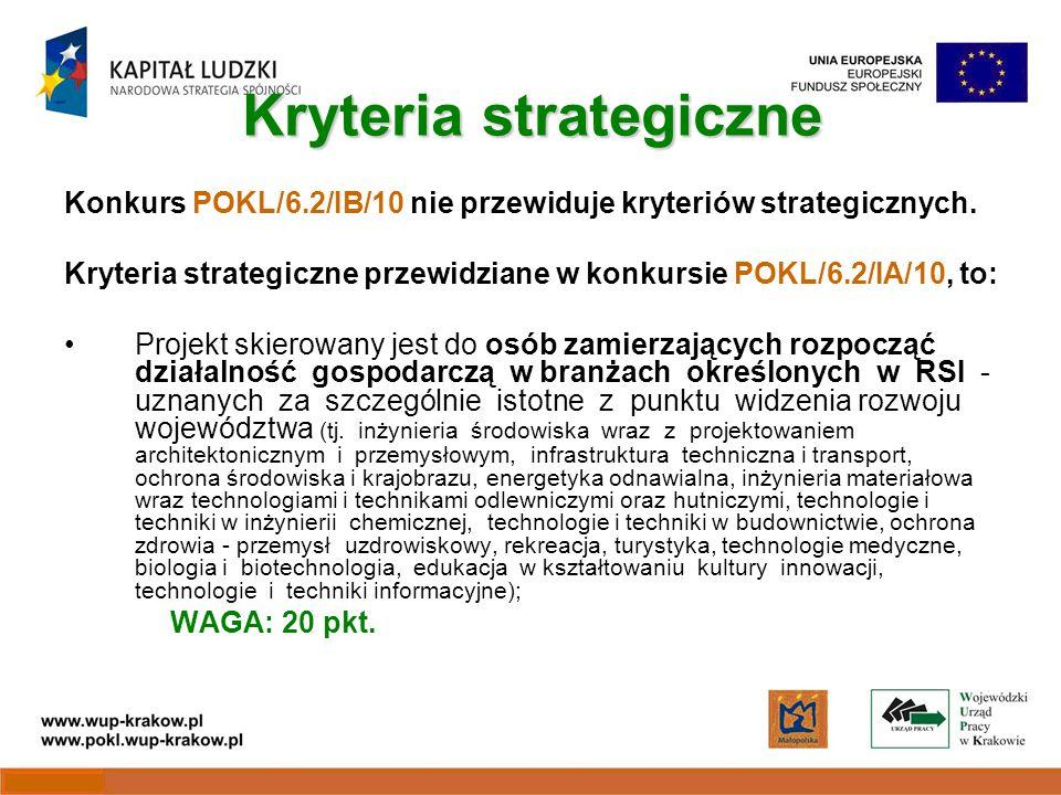 Kryteria strategiczne Konkurs POKL/6.2/IB/10 nie przewiduje kryteriów strategicznych.