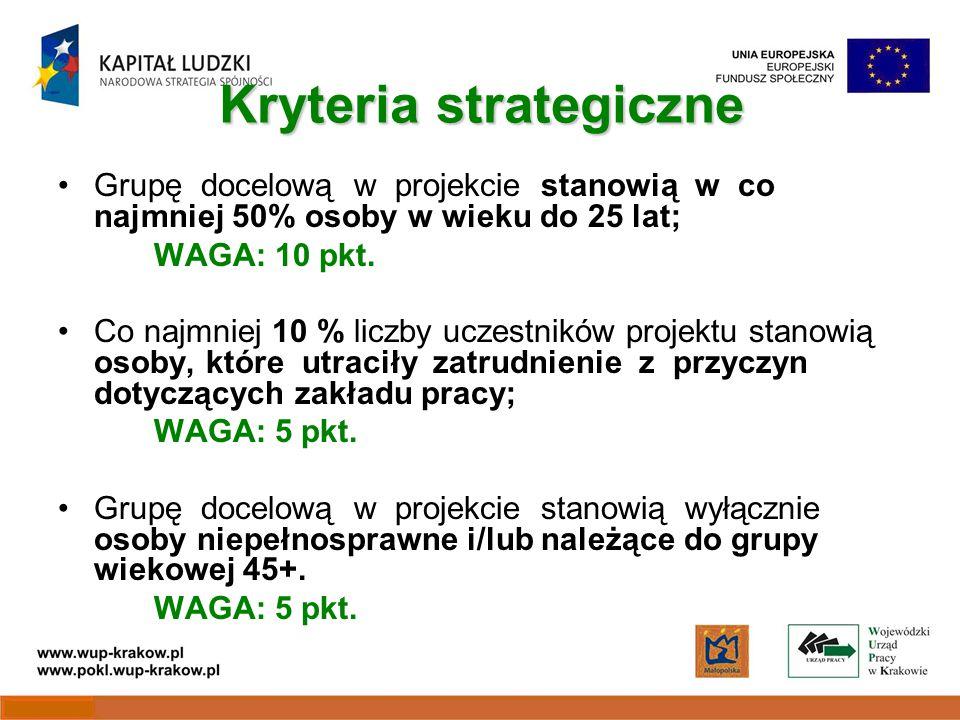 Kryteria strategiczne Grupę docelową w projekcie stanowią w co najmniej 50% osoby w wieku do 25 lat; WAGA: 10 pkt.