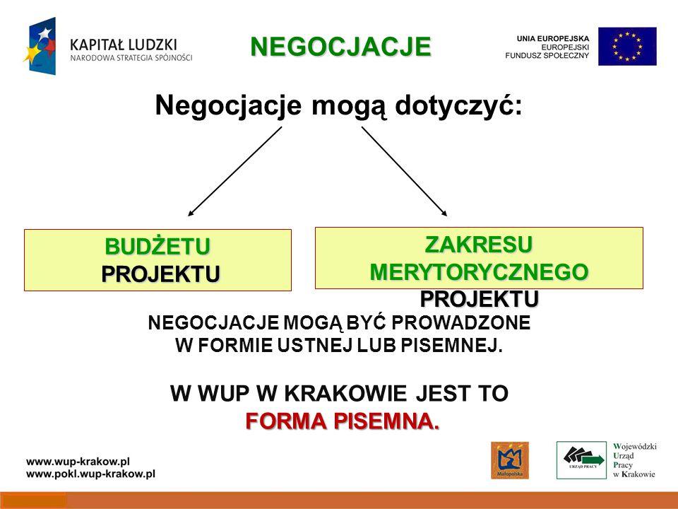 Negocjacje mogą dotyczyć: BUDŻETU PROJEKTU ZAKRESU MERYTORYCZNEGO PROJEKTU NEGOCJACJE FORMA PISEMNA.