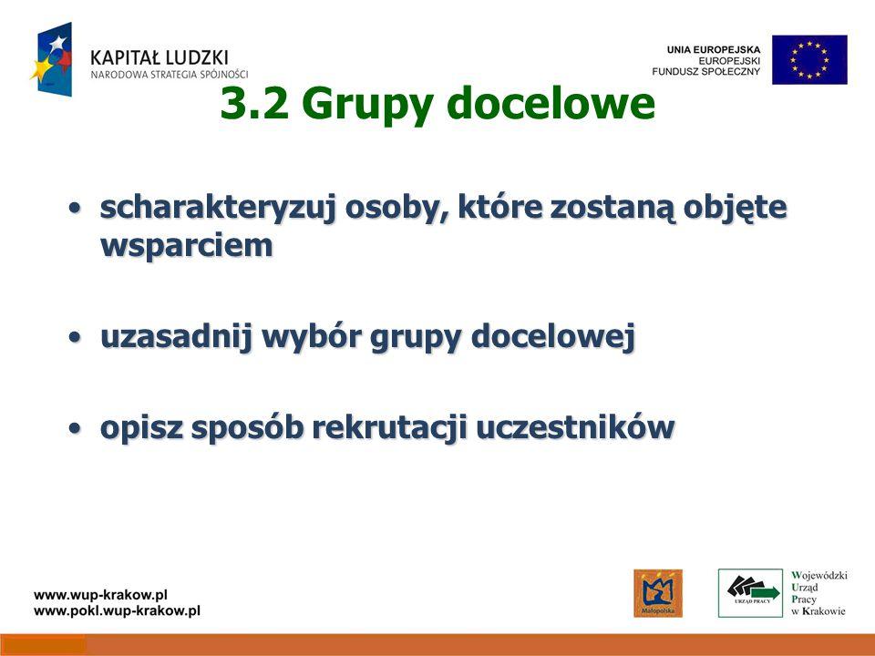 3.2 Grupy docelowe scharakteryzuj osoby, które zostaną objęte wsparciemscharakteryzuj osoby, które zostaną objęte wsparciem uzasadnij wybór grupy docelowejuzasadnij wybór grupy docelowej opisz sposób rekrutacji uczestnikówopisz sposób rekrutacji uczestników