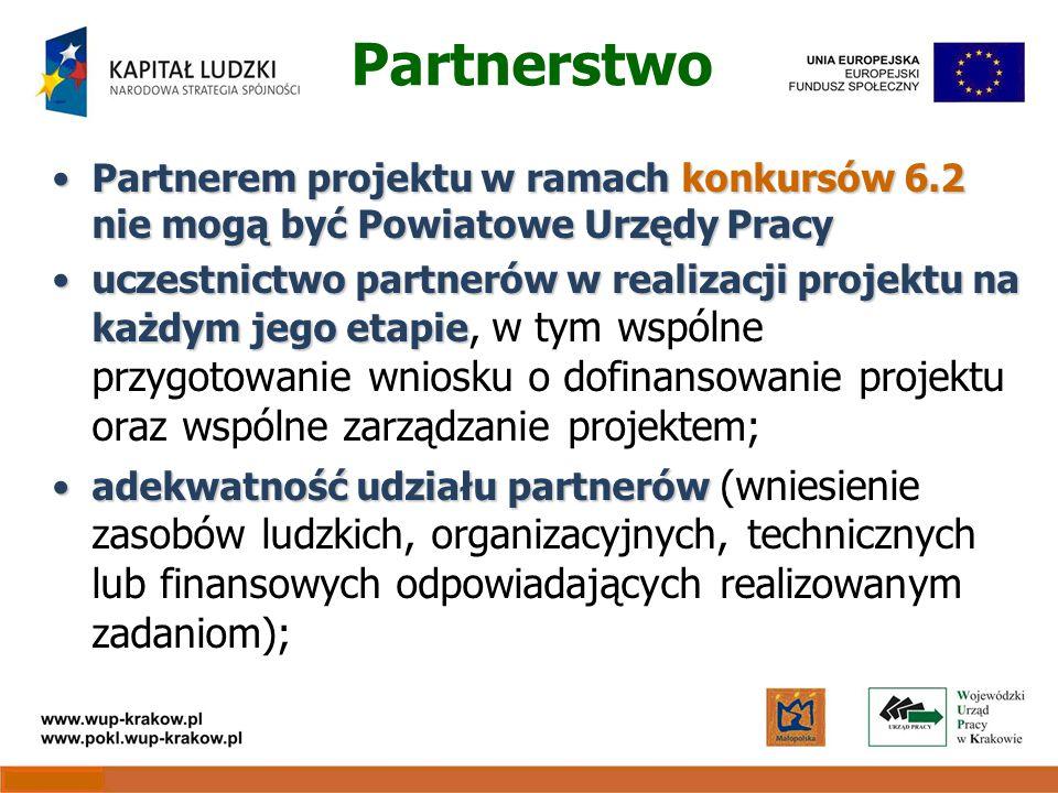 Partnerstwo Partnerem projektu w ramach konkursów 6.2 nie mogą być Powiatowe Urzędy PracyPartnerem projektu w ramach konkursów 6.2 nie mogą być Powiatowe Urzędy Pracy uczestnictwo partnerów w realizacji projektu na każdym jego etapieuczestnictwo partnerów w realizacji projektu na każdym jego etapie, w tym wspólne przygotowanie wniosku o dofinansowanie projektu oraz wspólne zarządzanie projektem; adekwatność udziału partnerówadekwatność udziału partnerów (wniesienie zasobów ludzkich, organizacyjnych, technicznych lub finansowych odpowiadających realizowanym zadaniom);