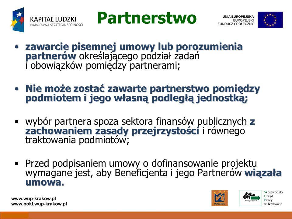 Partnerstwo zawarcie pisemnej umowy lub porozumienia partnerówzawarcie pisemnej umowy lub porozumienia partnerów określającego podział zadań i obowiązków pomiędzy partnerami; Nie może zostać zawarte partnerstwo pomiędzy podmiotem i jego własną podległą jednostką;Nie może zostać zawarte partnerstwo pomiędzy podmiotem i jego własną podległą jednostką; z zachowaniem zasady przejrzystościwybór partnera spoza sektora finansów publicznych z zachowaniem zasady przejrzystości i równego traktowania podmiotów; wiązała umowa.Przed podpisaniem umowy o dofinansowanie projektu wymagane jest, aby Beneficjenta i jego Partnerów wiązała umowa.