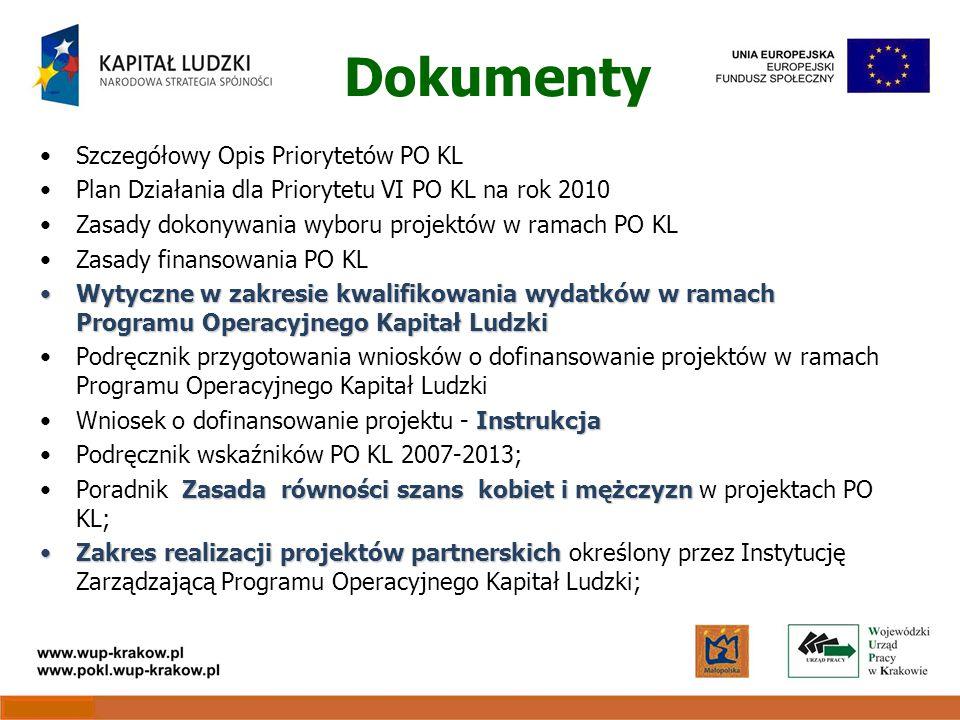 Dokumenty Szczegółowy Opis Priorytetów PO KL Plan Działania dla Priorytetu VI PO KL na rok 2010 Zasady dokonywania wyboru projektów w ramach PO KL Zasady finansowania PO KL Wytyczne w zakresie kwalifikowania wydatków w ramach Programu Operacyjnego Kapitał LudzkiWytyczne w zakresie kwalifikowania wydatków w ramach Programu Operacyjnego Kapitał Ludzki Podręcznik przygotowania wniosków o dofinansowanie projektów w ramach Programu Operacyjnego Kapitał Ludzki InstrukcjaWniosek o dofinansowanie projektu - Instrukcja Podręcznik wskaźników PO KL 2007-2013; Zasada równości szans kobiet i mężczyznPoradnik Zasada równości szans kobiet i mężczyzn w projektach PO KL; Zakres realizacji projektów partnerskichZakres realizacji projektów partnerskich określony przez Instytucję Zarządzającą Programu Operacyjnego Kapitał Ludzki;