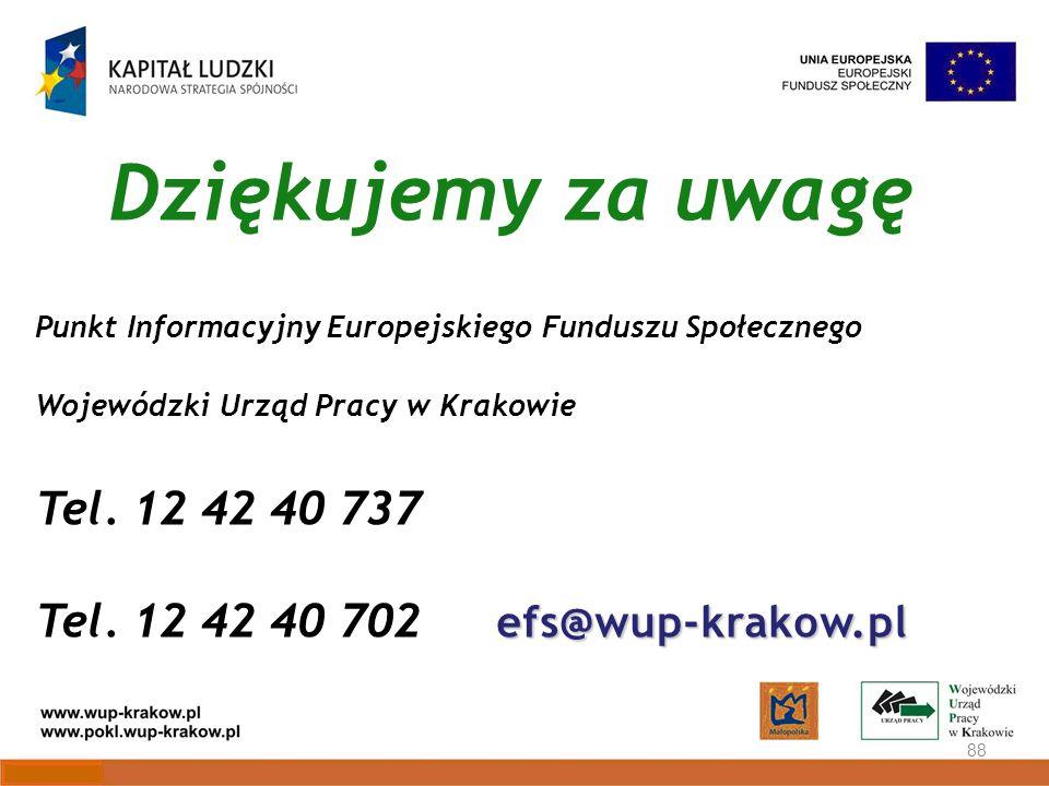 Dziękujemy za uwagę 88 Punkt Informacyjny Europejskiego Funduszu Społecznego Wojewódzki Urząd Pracy w Krakowie Tel.