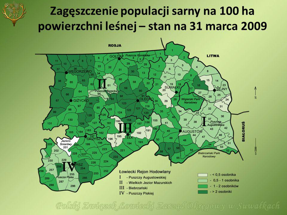 Zagęszczenie populacji sarny na 100 ha powierzchni leśnej – stan na 31 marca 2009