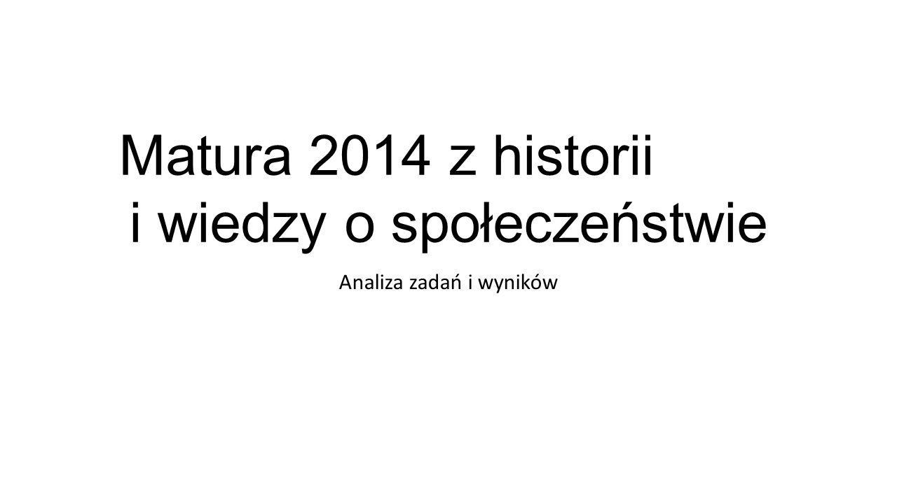 Matura 2014 z historii i wiedzy o społeczeństwie Analiza zadań i wyników