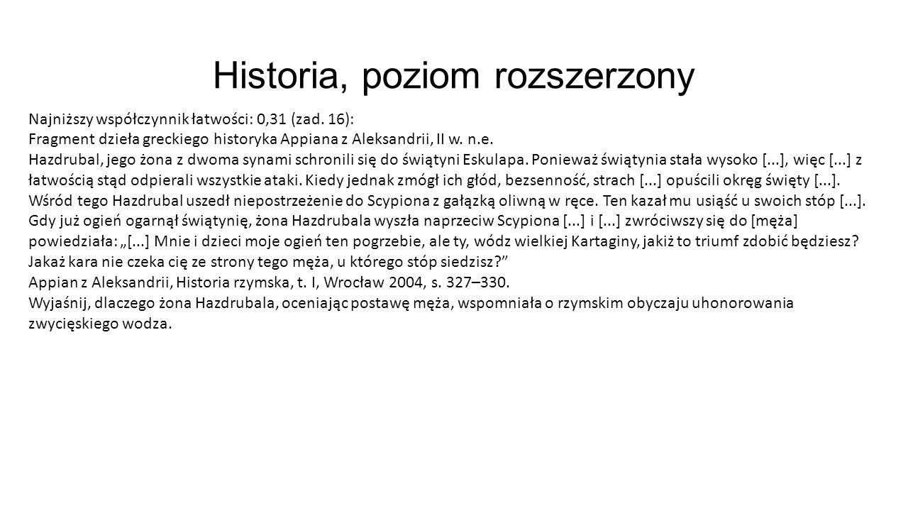 Historia, poziom rozszerzony Najniższy współczynnik łatwości: 0,31 (zad. 16): Fragment dzieła greckiego historyka Appiana z Aleksandrii, II w. n.e. Ha