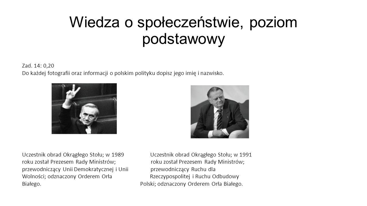 Wiedza o społeczeństwie, poziom podstawowy Zad. 14: 0,20 Do każdej fotografii oraz informacji o polskim polityku dopisz jego imię i nazwisko. Uczestni