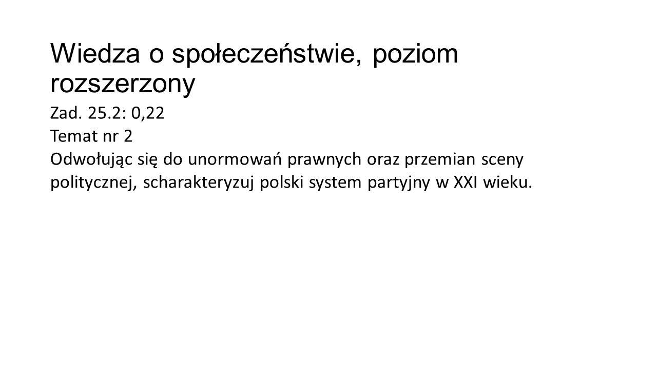 Wiedza o społeczeństwie, poziom rozszerzony Zad. 25.2: 0,22 Temat nr 2 Odwołując się do unormowań prawnych oraz przemian sceny politycznej, scharakter