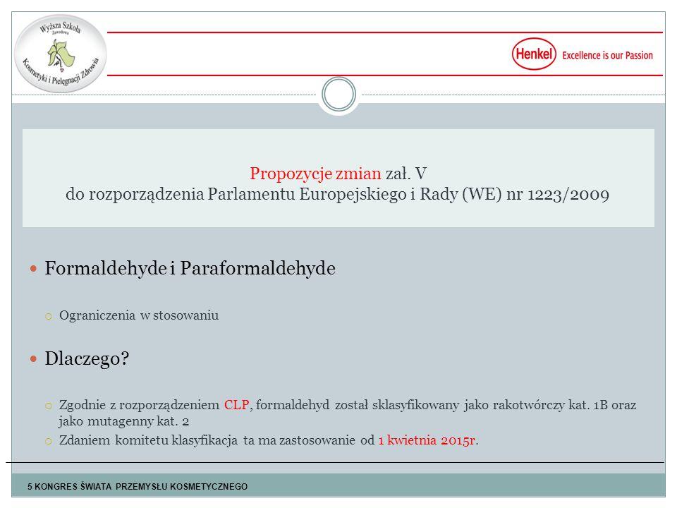 Formaldehyde i Paraformaldehyde  Ograniczenia w stosowaniu Dlaczego.