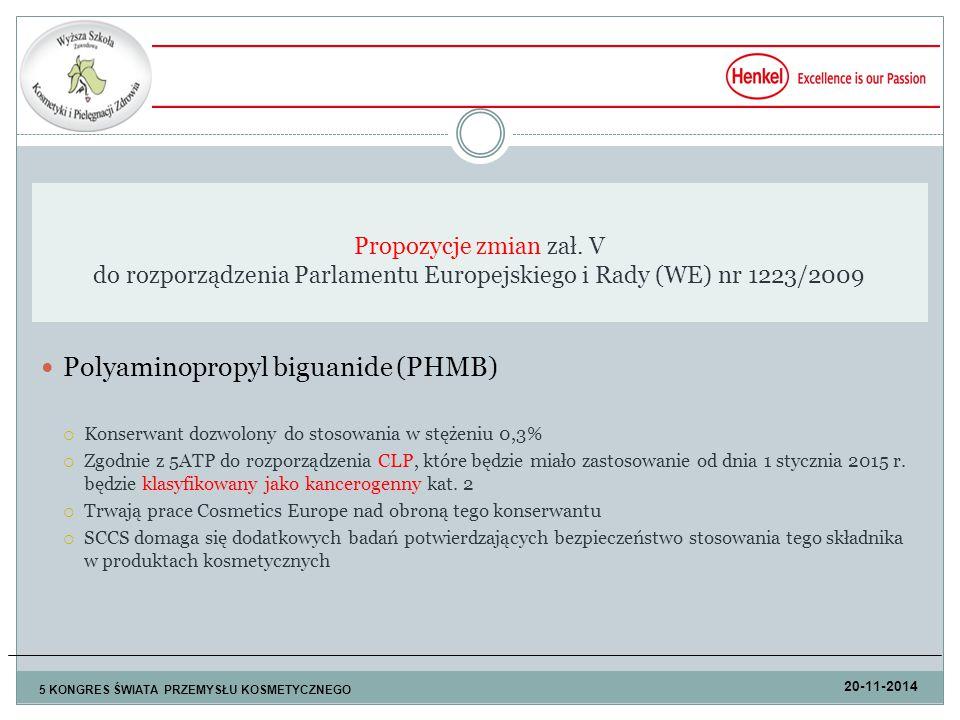 Polyaminopropyl biguanide (PHMB)  Konserwant dozwolony do stosowania w stężeniu 0,3%  Zgodnie z 5ATP do rozporządzenia CLP, które będzie miało zastosowanie od dnia 1 stycznia 2015 r.