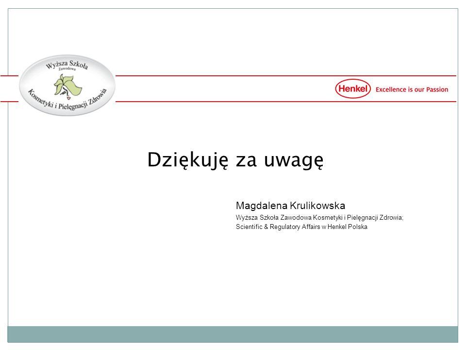 Dziękuję za uwagę Magdalena Krulikowska Wyższa Szkoła Zawodowa Kosmetyki i Pielęgnacji Zdrowia; Scientific & Regulatory Affairs w Henkel Polska