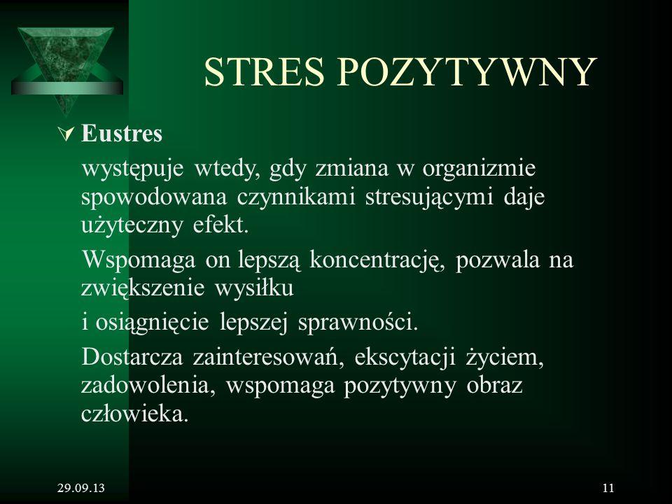 29.09.1311 STRES POZYTYWNY  Eustres występuje wtedy, gdy zmiana w organizmie spowodowana czynnikami stresującymi daje użyteczny efekt. Wspomaga on le