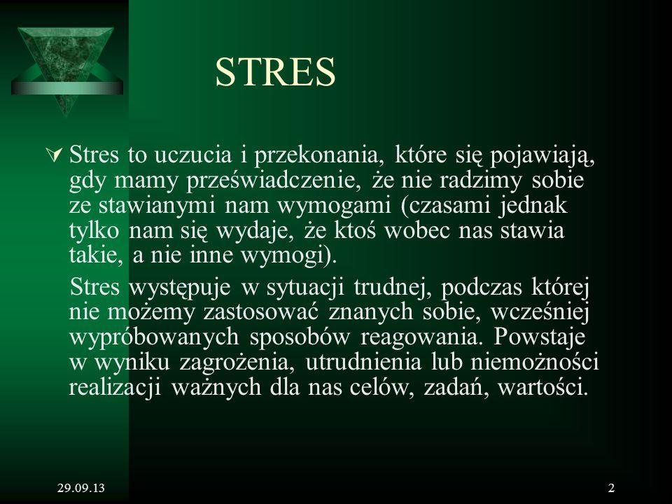 29.09.132 STRES  Stres to uczucia i przekonania, które się pojawiają, gdy mamy przeświadczenie, że nie radzimy sobie ze stawianymi nam wymogami (czas