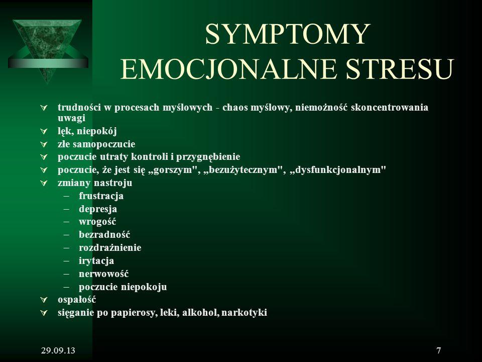 29.09.137 SYMPTOMY EMOCJONALNE STRESU  trudności w procesach myślowych - chaos myślowy, niemożność skoncentrowania uwagi  lęk, niepokój  złe samopo