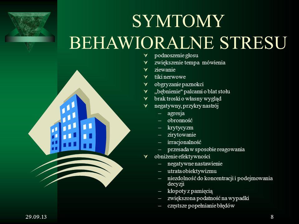 """29.09.138 SYMTOMY BEHAWIORALNE STRESU  podnoszenie głosu  zwiększenie tempa mówienia  ziewanie  tiki nerwowe  obgryzanie paznokci  """"bębnienie"""