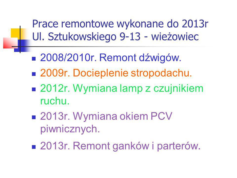 Prace remontowe wykonane do 2013r Ul.Sztukowskiego 15-17- wieżowiec 2010r/2011r.