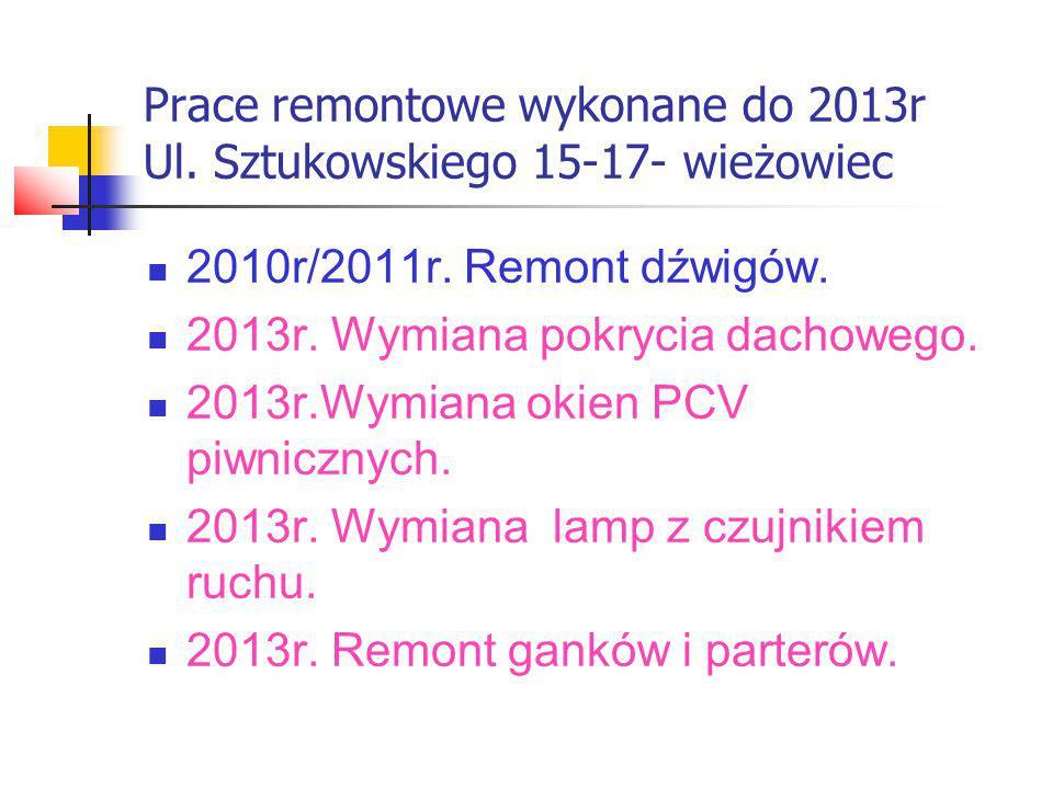Prace remontowe wykonane do 2013r Ul.Sztukowskiego 19-21 2011r.
