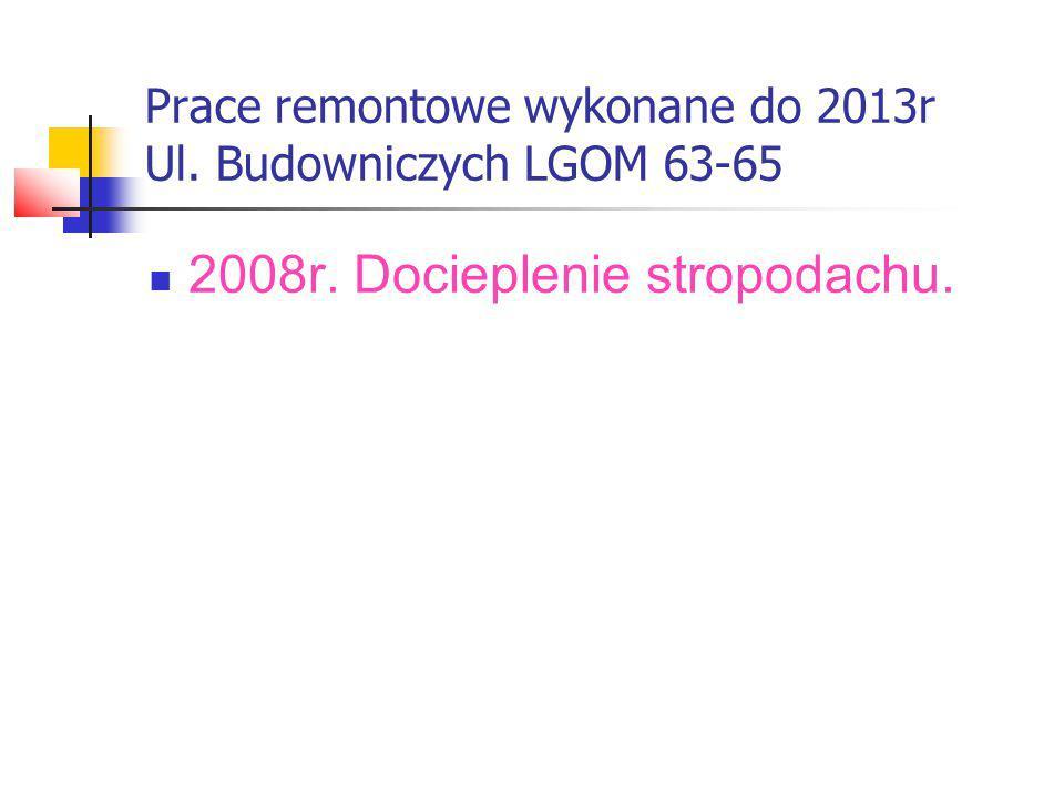 Prace remontowe wykonane do 2013r Ul. Budowniczych LGOM 67-69 2008r. Docieplenie stropodachu.