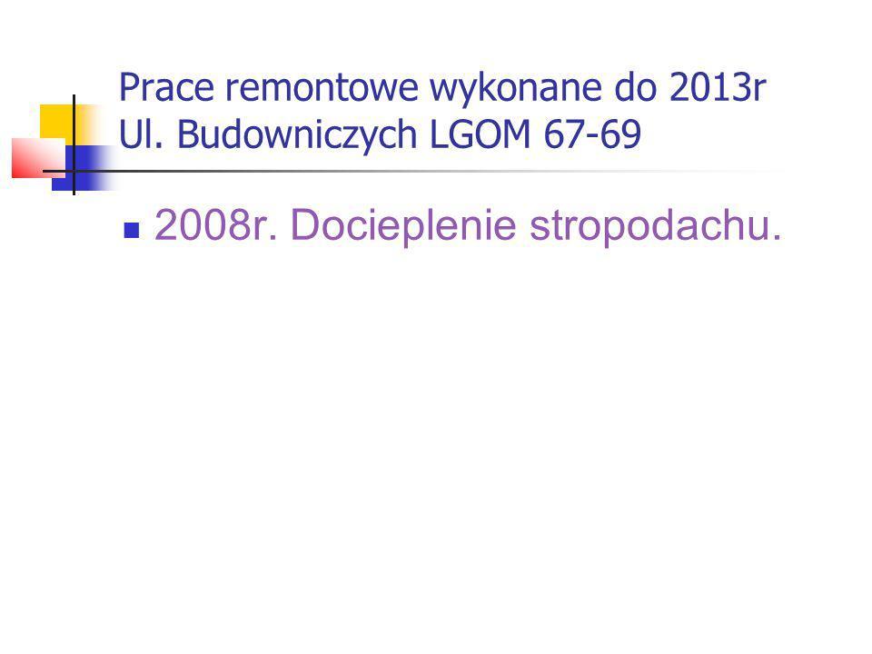 Prace remontowe wykonane do 2013r Ul. Budowniczych LGOM 71-77 2006r. Docieplenie stropodachu.