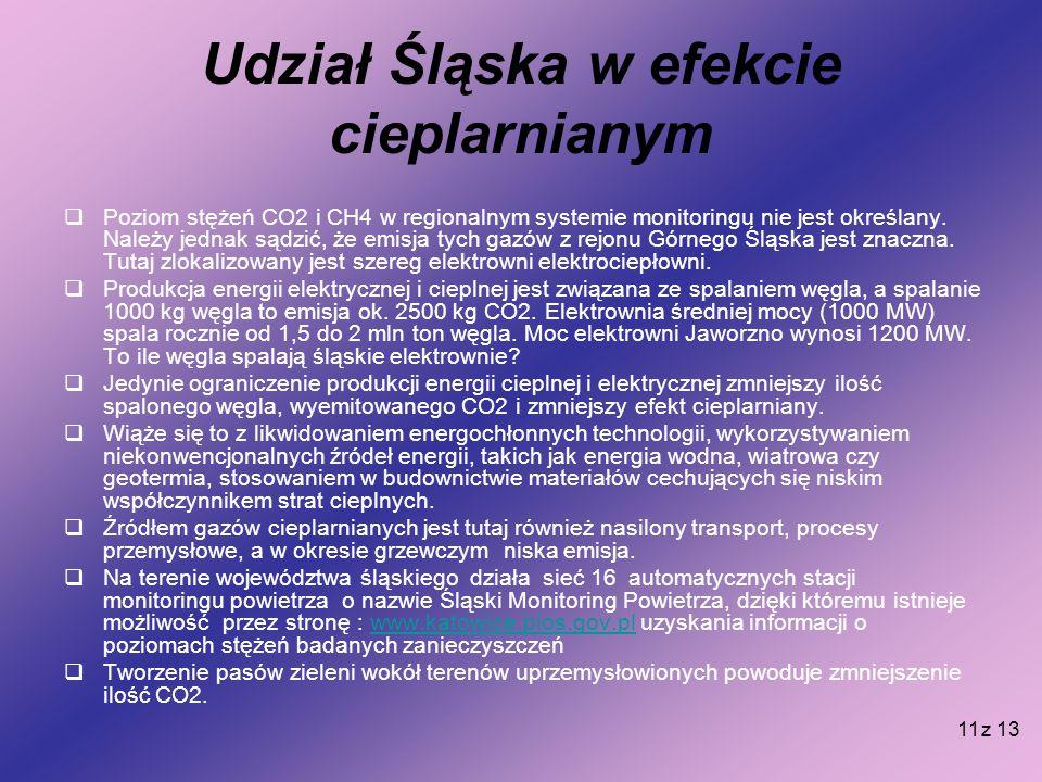 11 Udział Śląska w efekcie cieplarnianym  Poziom stężeń CO2 i CH4 w regionalnym systemie monitoringu nie jest określany. Należy jednak sądzić, że emi