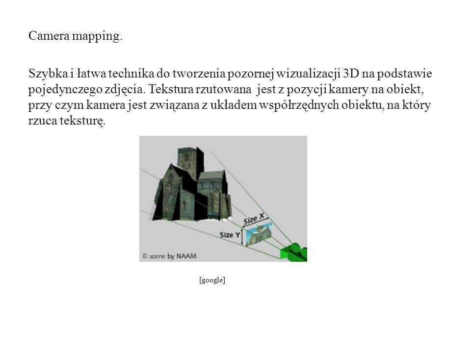 Camera mapping. Szybka i łatwa technika do tworzenia pozornej wizualizacji 3D na podstawie pojedynczego zdjęcia. Tekstura rzutowana jest z pozycji kam