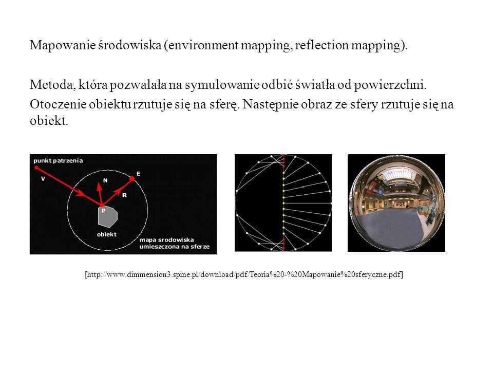 Mapowanie środowiska (environment mapping, reflection mapping). Metoda, która pozwalała na symulowanie odbić światła od powierzchni. Otoczenie obiektu