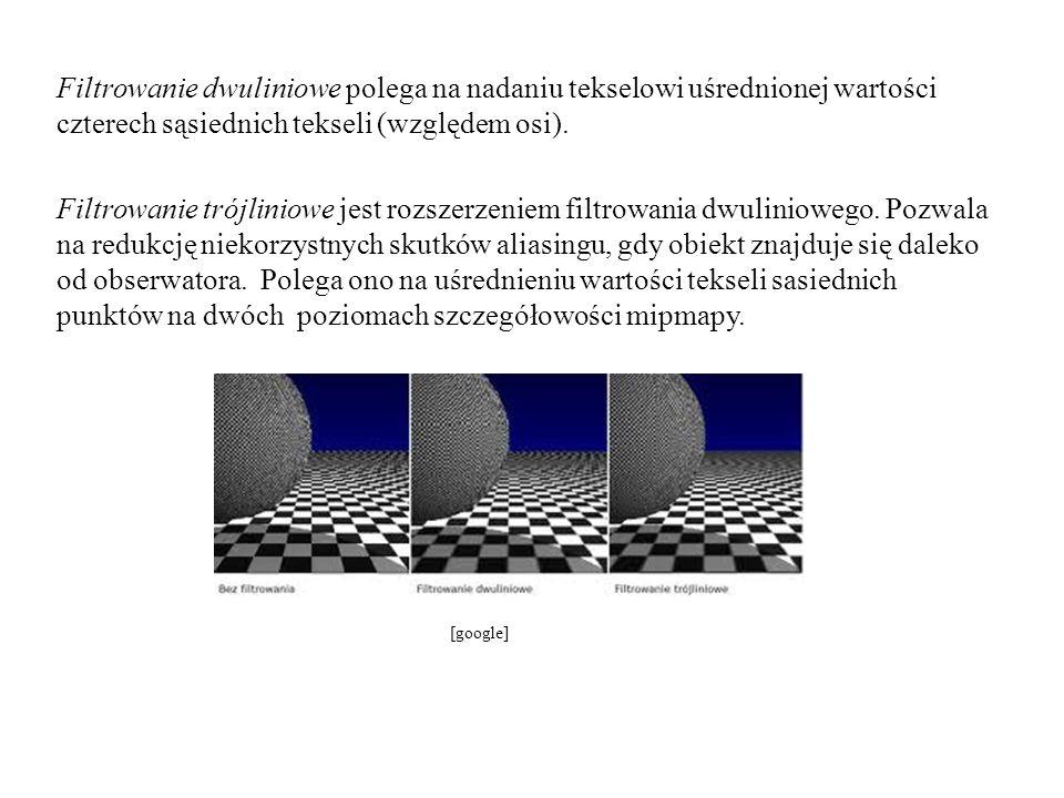 Filtrowanie dwuliniowe polega na nadaniu tekselowi uśrednionej wartości czterech sąsiednich tekseli (względem osi). Filtrowanie trójliniowe jest rozsz