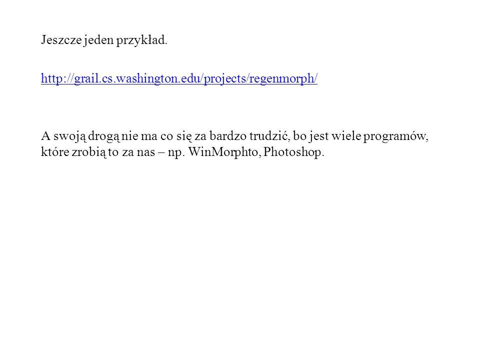 Jeszcze jeden przykład. http://grail.cs.washington.edu/projects/regenmorph/ A swoją drogą nie ma co się za bardzo trudzić, bo jest wiele programów, kt