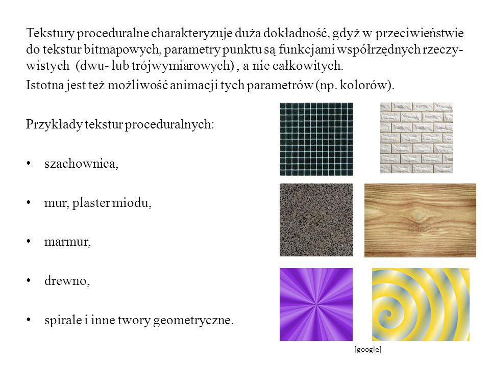 Tekstury proceduralne charakteryzuje duża dokładność, gdyż w przeciwieństwie do tekstur bitmapowych, parametry punktu są funkcjami współrzędnych rzecz