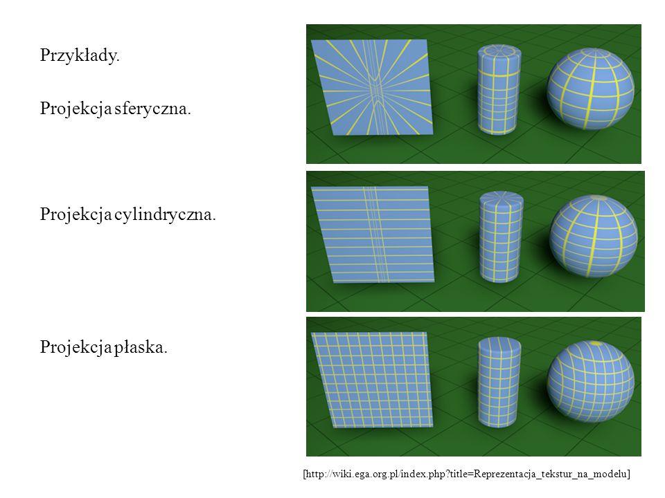 Przykłady. Projekcja sferyczna. Projekcja cylindryczna. Projekcja płaska. [http://wiki.ega.org.pl/index.php?title=Reprezentacja_tekstur_na_modelu]