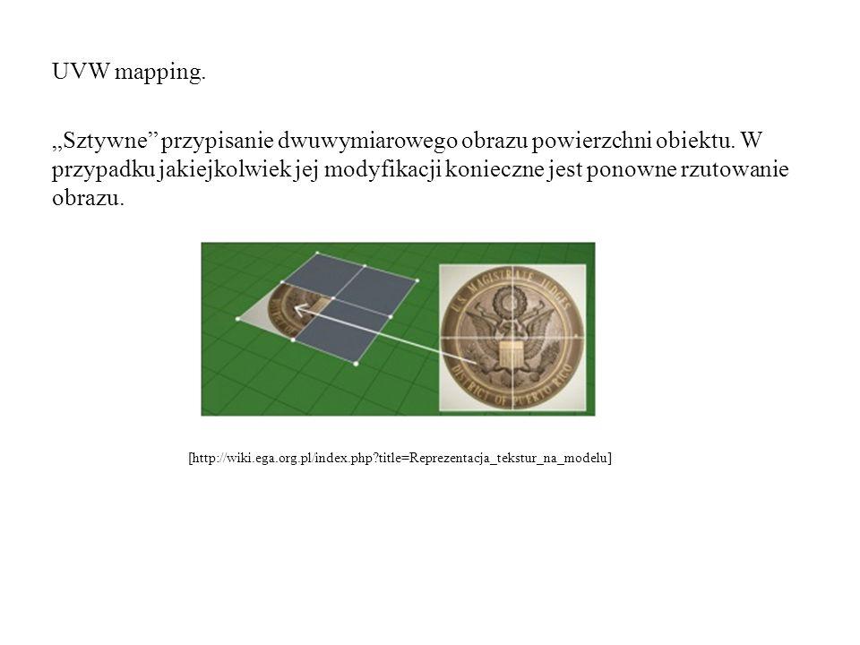 """UVW mapping. """"Sztywne"""" przypisanie dwuwymiarowego obrazu powierzchni obiektu. W przypadku jakiejkolwiek jej modyfikacji konieczne jest ponowne rzutowa"""