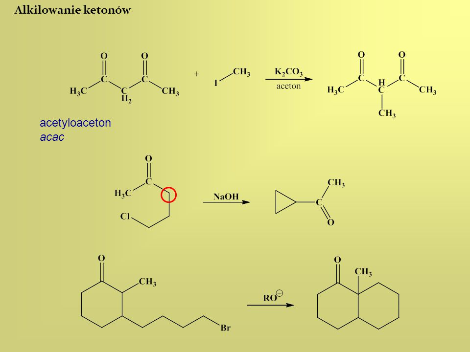 Alkilowanie ketonów acetyloaceton acac