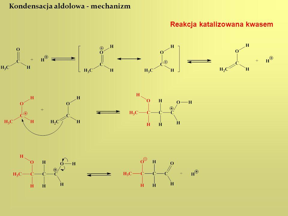 Kondensacja aldolowa - mechanizm Reakcja katalizowana kwasem