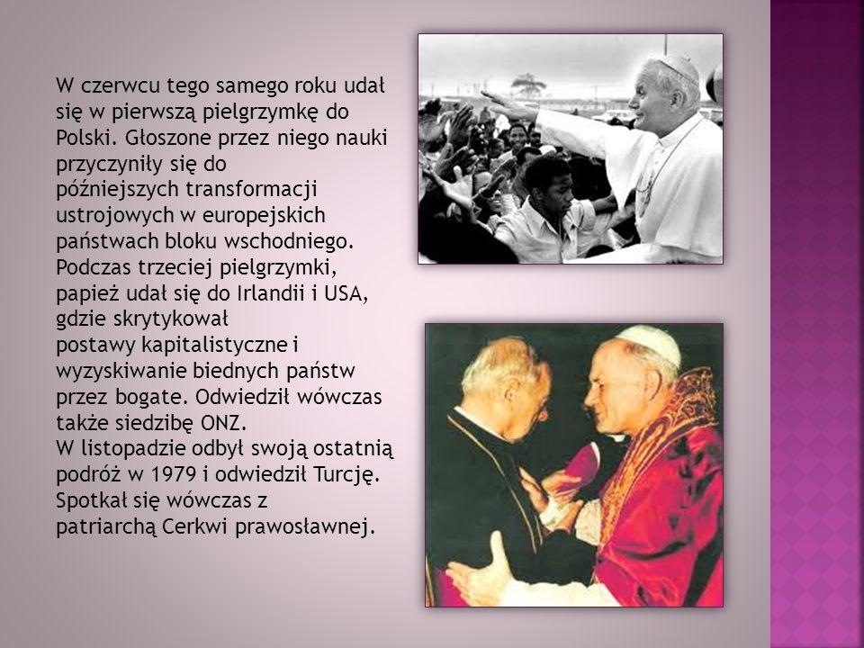 W czerwcu tego samego roku udał się w pierwszą pielgrzymkę do Polski. Głoszone przez niego nauki przyczyniły się do późniejszych transformacji ustrojo