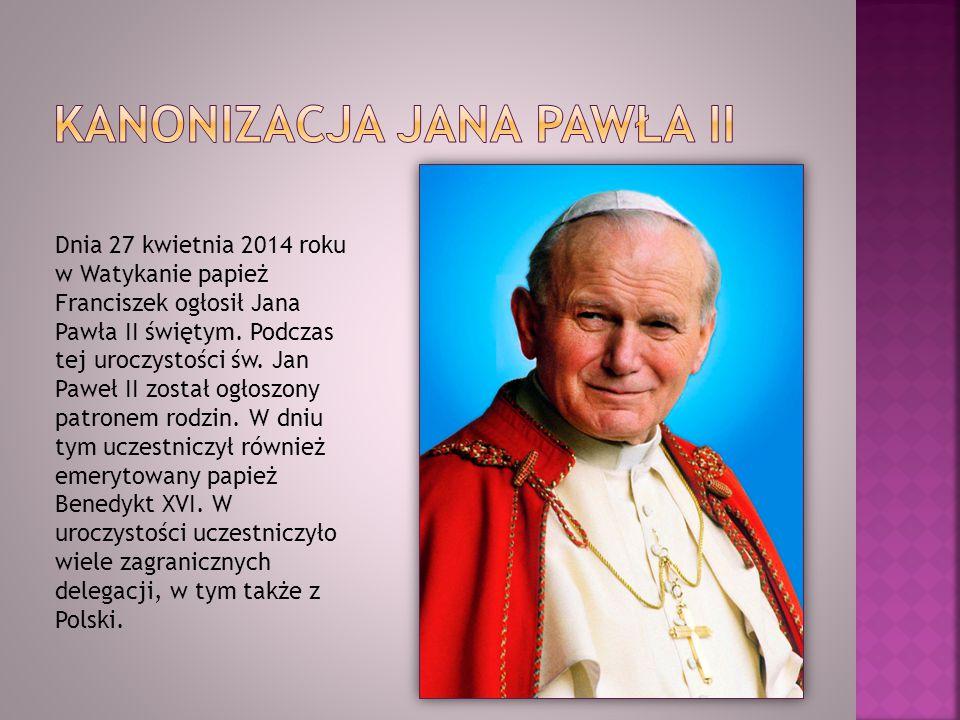 Dnia 27 kwietnia 2014 roku w Watykanie papież Franciszek ogłosił Jana Pawła II świętym. Podczas tej uroczystości św. Jan Paweł II został ogłoszony pat