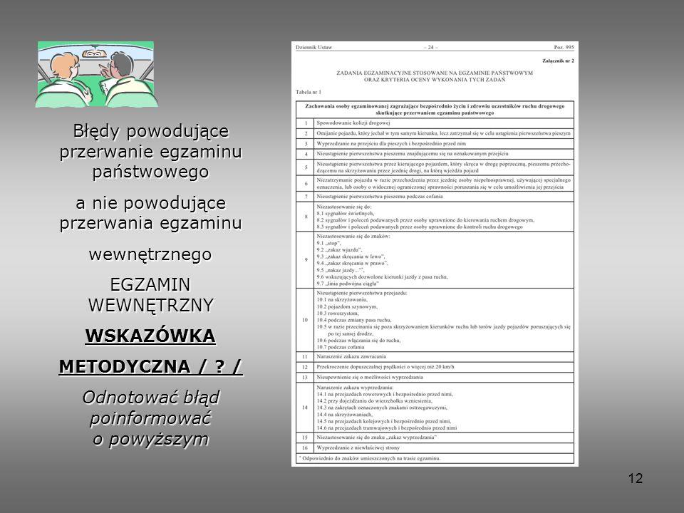 12 Błędy powodujące przerwanie egzaminu państwowego a nie powodujące przerwania egzaminu wewnętrznego EGZAMIN WEWNĘTRZNY WSKAZÓWKA METODYCZNA / .
