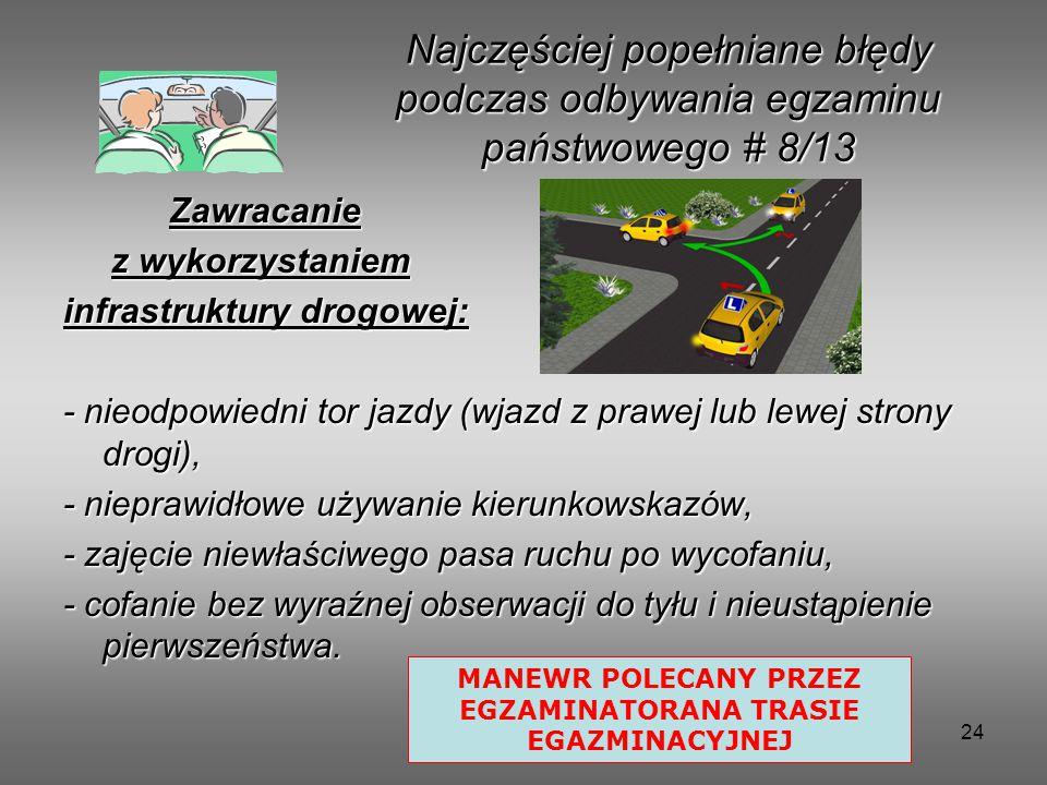24 Zawracanie Zawracanie z wykorzystaniem z wykorzystaniem infrastruktury drogowej: - nieodpowiedni tor jazdy (wjazd z prawej lub lewej strony drogi), - nieprawidłowe używanie kierunkowskazów, - zajęcie niewłaściwego pasa ruchu po wycofaniu, - cofanie bez wyraźnej obserwacji do tyłu i nieustąpienie pierwszeństwa.