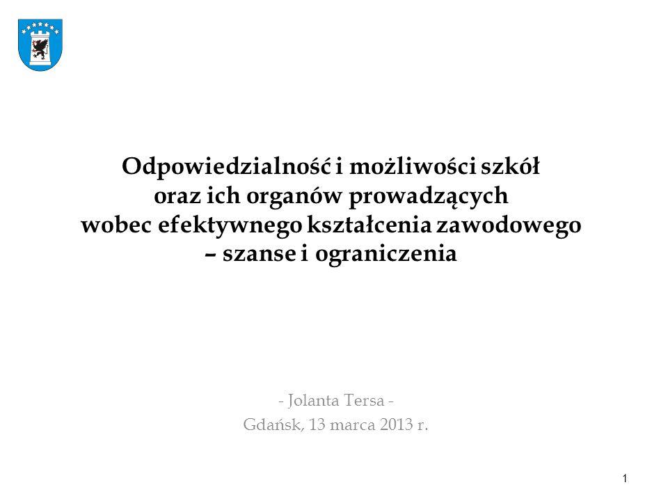 Odpowiedzialność i możliwości szkół oraz ich organów prowadzących wobec efektywnego kształcenia zawodowego – szanse i ograniczenia - Jolanta Tersa - Gdańsk, 13 marca 2013 r.