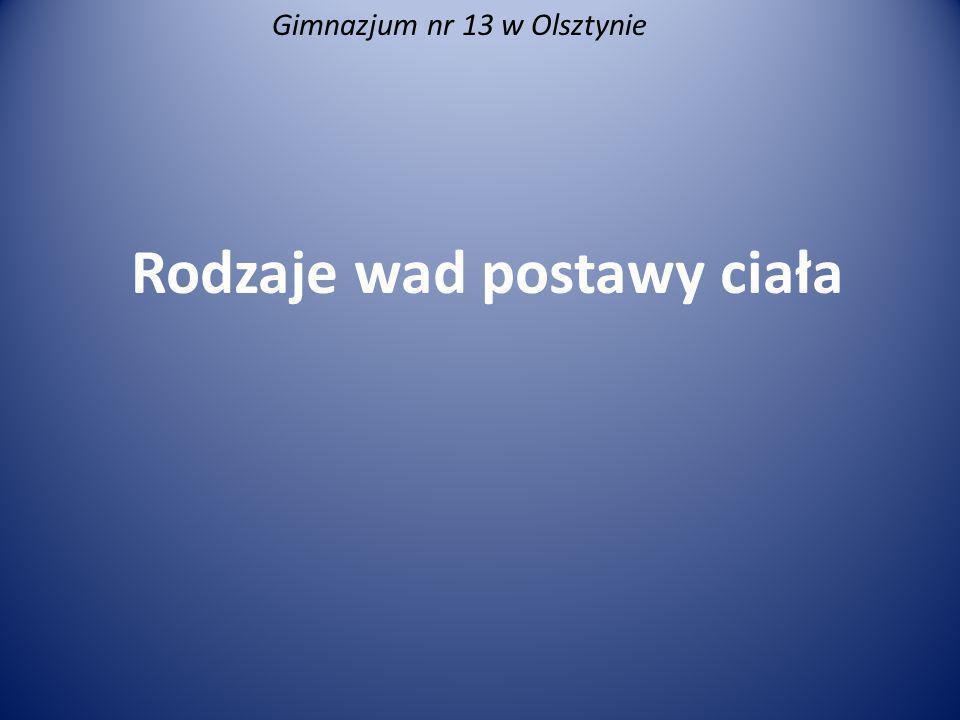 Rodzaje wad postawy ciała Gimnazjum nr 13 w Olsztynie