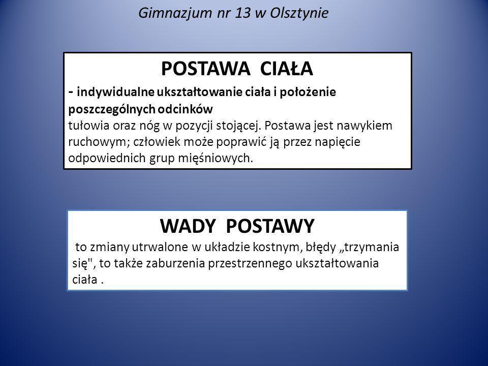 Gimnazjum nr 13 w Olsztynie Jak możemy sprawdzić swoją postawę ciała .