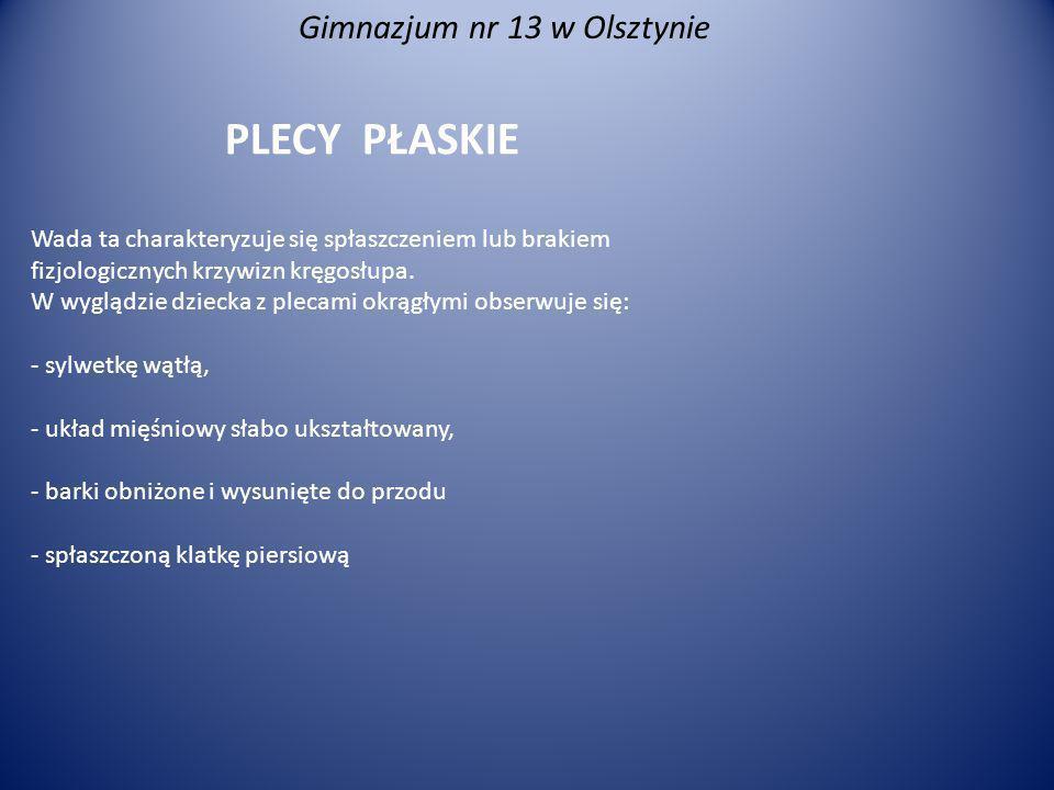 Gimnazjum nr 13 w Olsztynie PLECY OKRĄGŁO-WKLĘSŁE Zarówno kifoza piersiowa, jak i lordoza lędźwiowa są nadmiernie powiększone, głowa, barki i brzuch silnie wysunięte do przodu