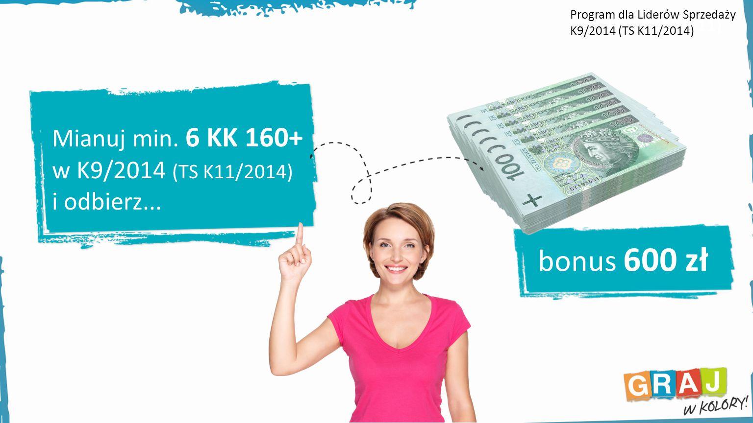 Mianuj min. 6 KK 160+ w K9/2014 (TS K11/2014) i odbierz... bonus 600 zł LS K 9 (TS K 11) Program dla Liderów Sprzedaży K9/2014 (TS K11/2014)