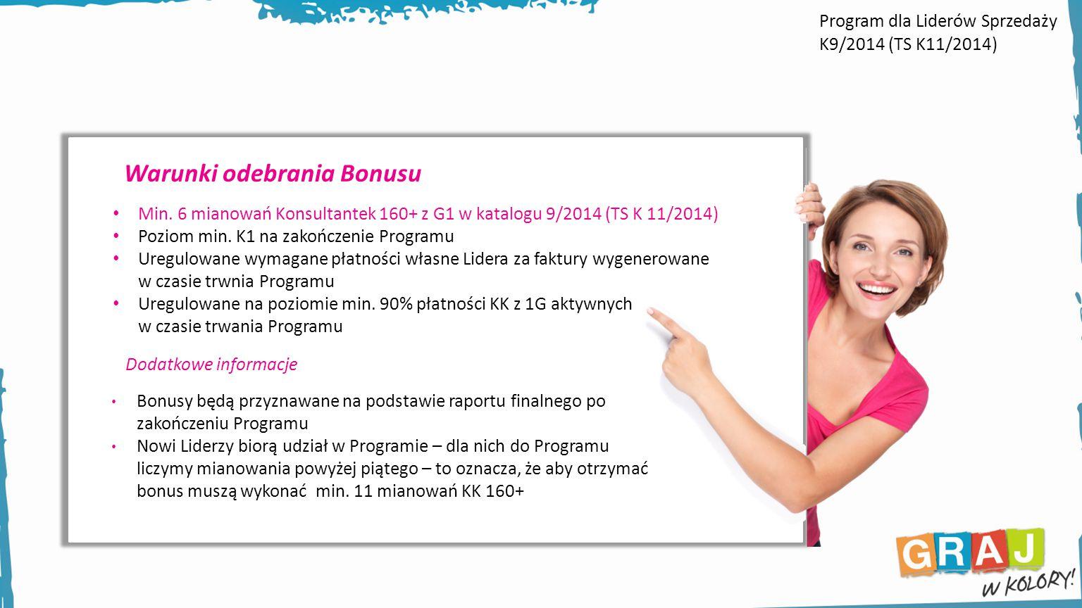 Warunki odebrania Bonusu Min. 6 mianowań Konsultantek 160+ z G1 w katalogu 9/2014 (TS K 11/2014) Poziom min. K1 na zakończenie Programu Uregulowane wy