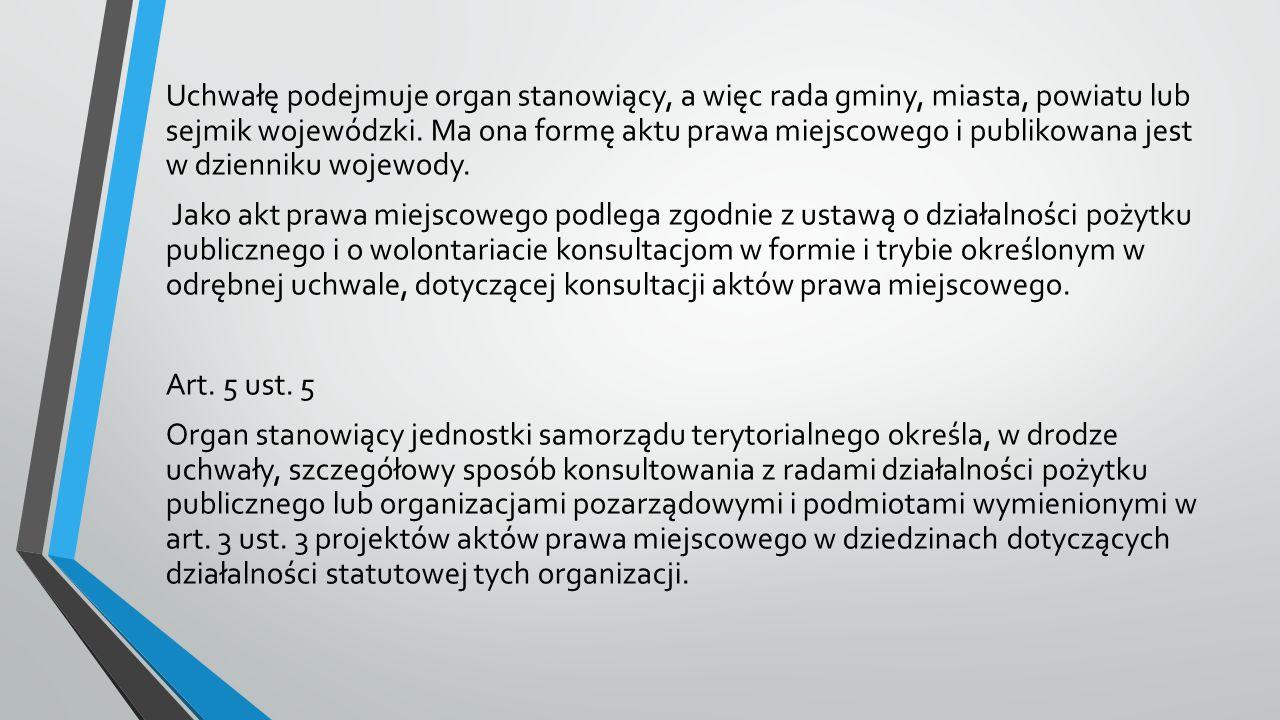 Uchwałę podejmuje organ stanowiący, a więc rada gminy, miasta, powiatu lub sejmik wojewódzki.
