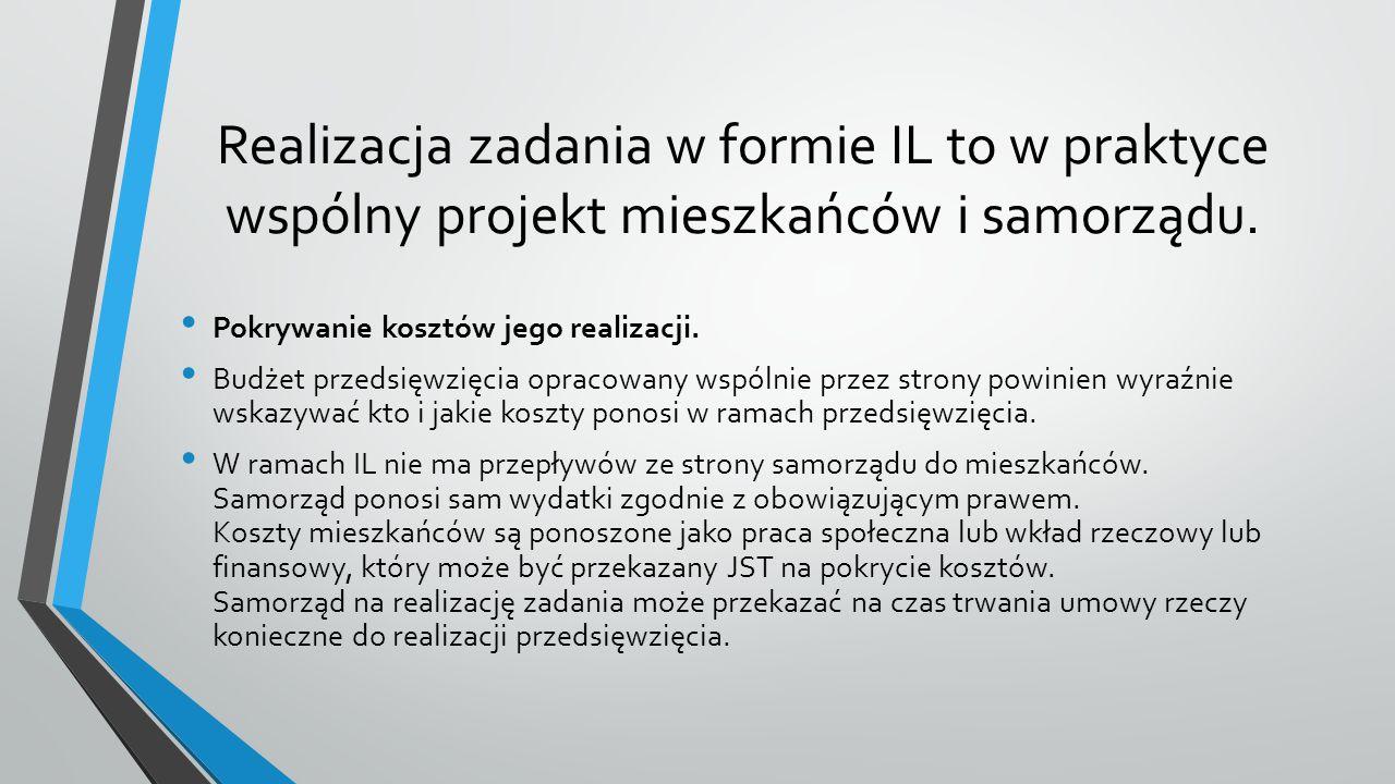 Realizacja zadania w formie IL to w praktyce wspólny projekt mieszkańców i samorządu.