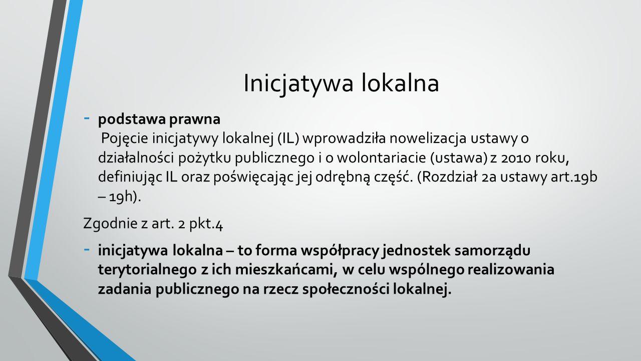 Inicjatywa lokalna - podstawa prawna Pojęcie inicjatywy lokalnej (IL) wprowadziła nowelizacja ustawy o działalności pożytku publicznego i o wolontariacie (ustawa) z 2010 roku, definiując IL oraz poświęcając jej odrębną część.