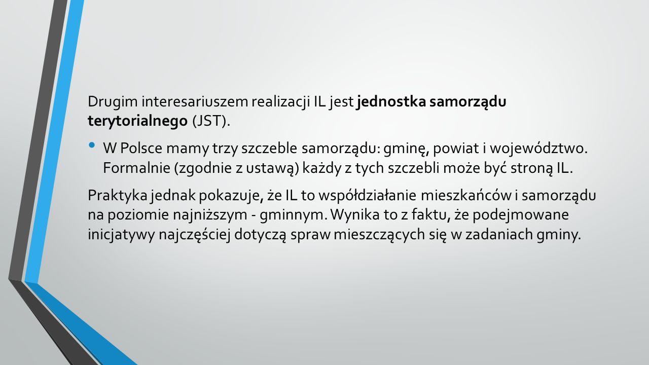 Drugim interesariuszem realizacji IL jest jednostka samorządu terytorialnego (JST).